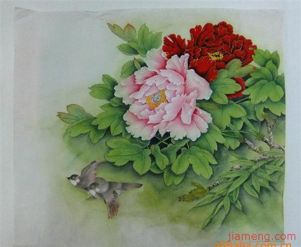 洛阳王绣牡丹; 国画 工笔画